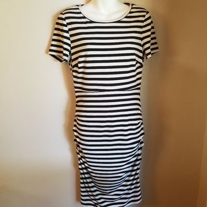 Vince Camuto stripped black and white dress